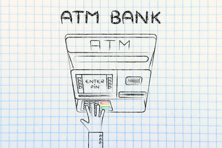teller: hand typing pin code on automatic teller machine, concept of money and banks