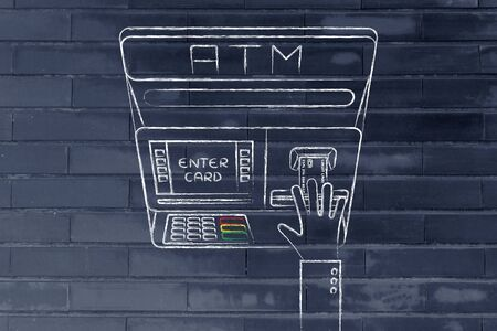 expenses: hand inserting credit card into atm slot (flat illustration), concept of money and expenses
