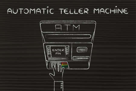 teller: hand typing pin code on automatic teller machine, concept of money and atm banks Stock Photo