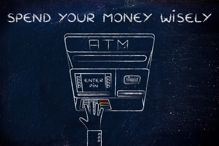 typing machine: hand typing pin code on automatic teller machine, concept of spending money wisely