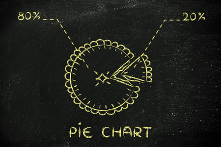 quota: funny pie illustration with slice cut off, eighty twenty percentage and text Pie Chart Stock Photo