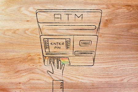 automatic teller machine bank: hand typing pin code on automatic teller machine, concept of money and expenses Stock Photo