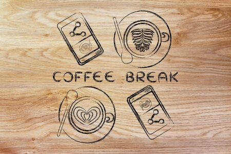 coffee break: cups with latte art and smartphones with picture to share (flat illustration)