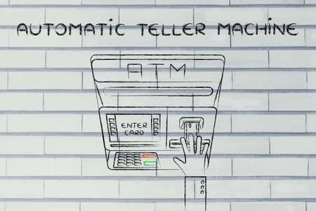 teller: hand inserting credit card into atm slot (flat illustration), concept of money and automatic teller machines
