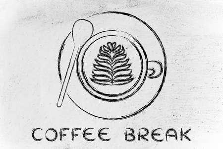 coffee break: coffee break: cup with leaf-shaped latte art design Stock Photo