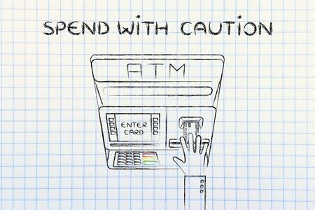 spending: hand inserting credit card into atm slot (flat illustration), concept of spending with caution Stock Photo
