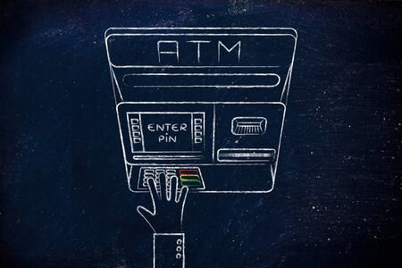 automatic teller: hand typing pin code on automatic teller machine, concept of money and expenses Stock Photo