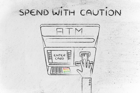 expenditure: hand inserting credit card into atm slot (flat illustration), concept of spending with caution Stock Photo