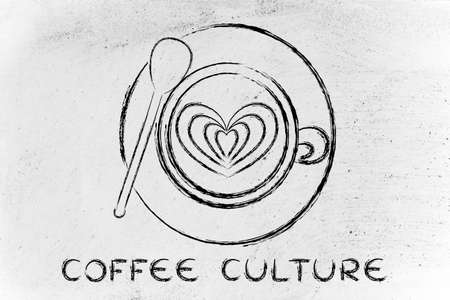 latte: coffee culture: cup with heart-shaped latte art design