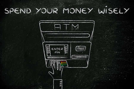 spending money: hand typing pin code on automatic teller machine, concept of spending money wisely