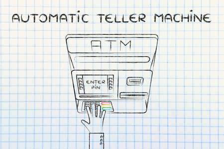 automatic teller: hand typing pin code on automatic teller machine, concept of money and atm banks Stock Photo