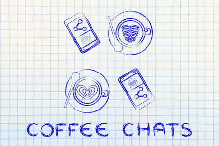 chats: coffee chats: cups with latte art and smartphones with picture to share (flat illustration)