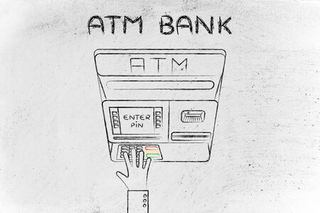 automatic teller: hand typing pin code on automatic teller machine, concept of money and banks