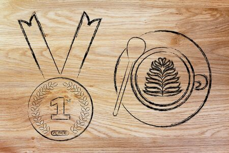 best coffee: the best coffee: cappuccino cup with latte art next to first place gold medal Stock Photo
