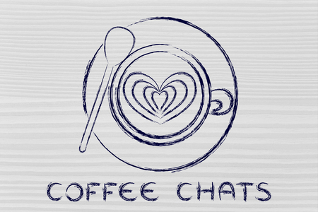 chats: coffee chats: cup with heart-shaped latte art design Stock Photo