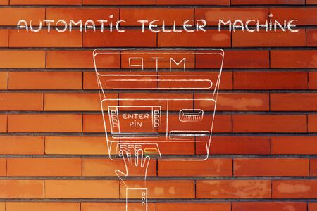 typing machine: hand typing pin code on automatic teller machine, concept of money and atm banks Stock Photo