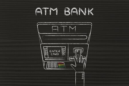 automatic teller machine bank: hand inserting credit card into automatic teller machine (flat illustration), concept of money and ATM banks