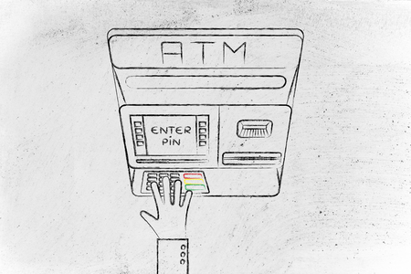 expenses: hand typing pin code on automatic teller machine, concept of money and expenses Stock Photo