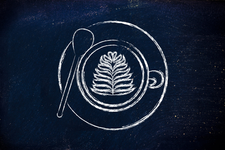 latte: cup of coffee with leaf-shaped latte art design