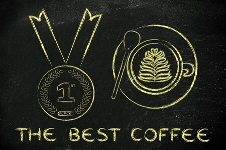 1 place: the best coffee: cappuccino cup with latte art next to first place gold medal Stock Photo