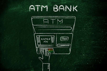 automatic teller machine: hand typing pin code on automatic teller machine, concept of money and banks