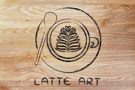 latte: latte art: cup of coffee with leaf design