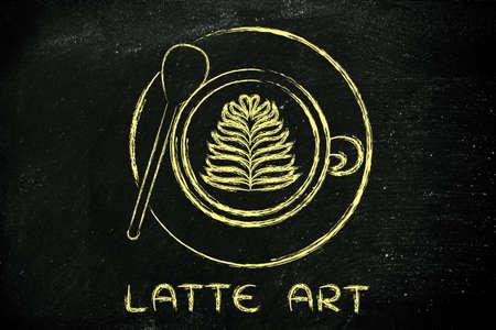 coffee leaf: latte art: cup of coffee with leaf design