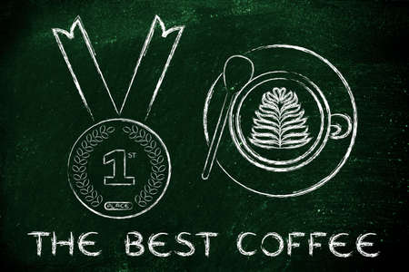 best coffee: the best coffee: cappuccino cup with latte art next to first place gold medal Foto de archivo