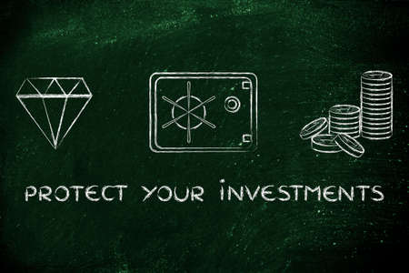 safe investments: protect your investments: flat outline illustration with diamond, coins and safe Stock Photo