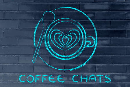 latte: coffee chats: cup with heart-shaped latte art design Stock Photo