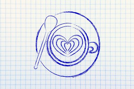 latte: cup of coffee with latte art heart design
