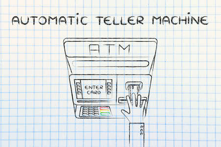 automatic teller: hand inserting credit card into atm slot (flat illustration), concept of money and automatic teller machines