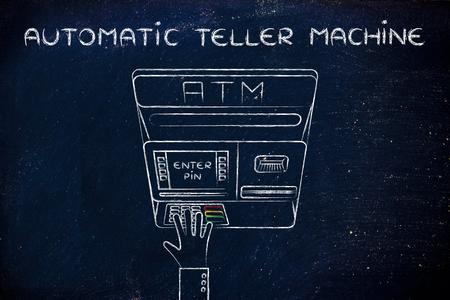 automatic teller machine: hand typing pin code on automatic teller machine, concept of money and atm banks Foto de archivo