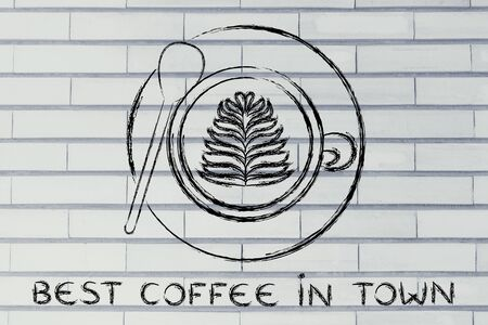 best coffee: Best coffee in town: cup with leaf-shaped latte art design