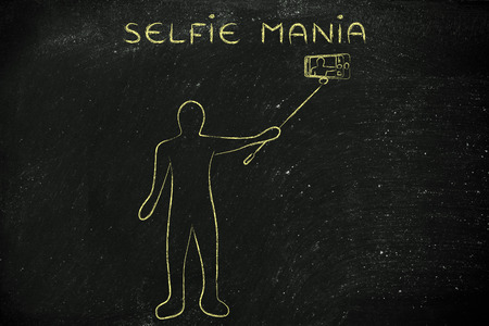 mania: selfie mania: person taking a self portrait photo on his smartphone with stick