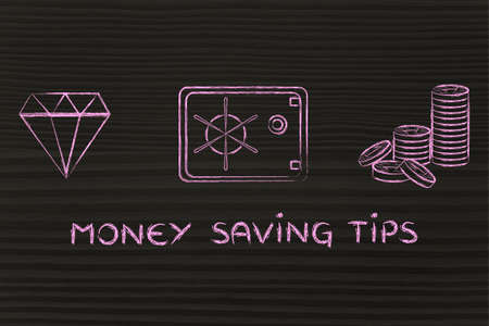 saving tips: Money saving tips: flat outline illustration with diamond, coins and safe Stock Photo
