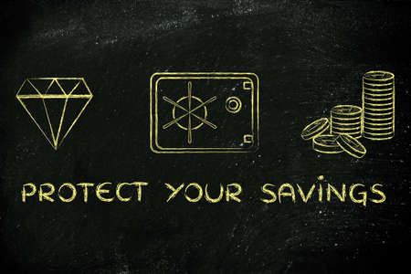 credit risk: protect your savings: flat outline illustration with diamond, coins and safe
