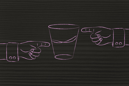 half full: contrasting point of views: hands pointing at glass to show its half full and half empty sides
