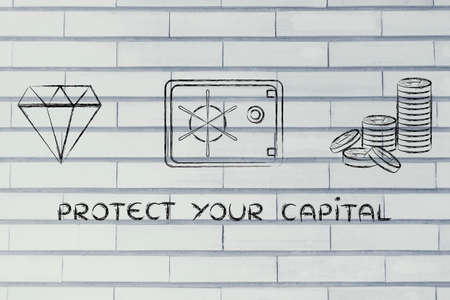 credit risk: protect your capital: flat outline illustration with diamond, coins and safe