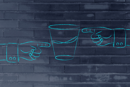 unhappiness: contrasting point of views: hands pointing at glass to show its half full and half empty sides