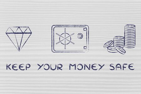 credit risk: keep your money safe: flat outline illustration with diamond, coins and safe