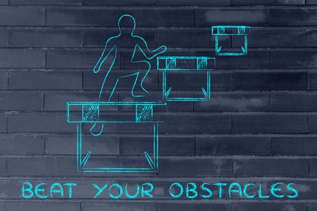 obstacles: concept of beating your obstacles: person jumpying over a series of obstacles Stock Photo