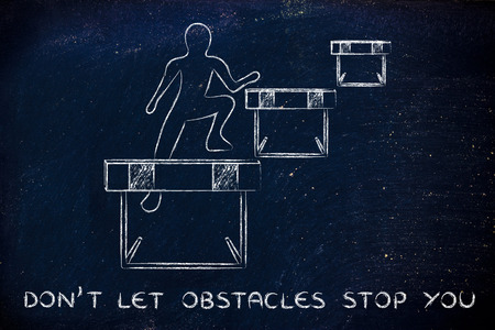 letting: concept of not letting obstacles stop you: person jumpying over a series of obstacles