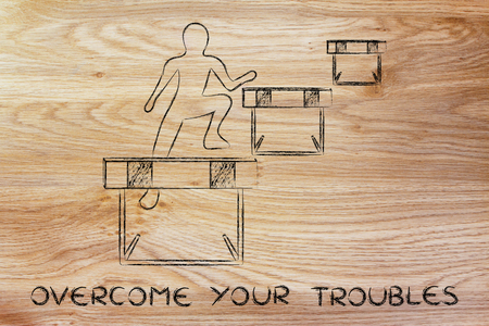 concept of overcoming your troubles: person jumpying over a series of obstacles