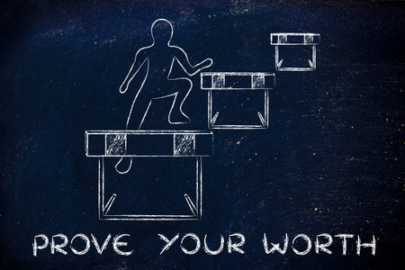 proving: concept of proving your worth: person jumpying over a series of obstacles
