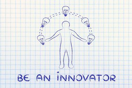 innovator: be an innovator: man juggling ideas (lightbulb illustration) Stock Photo