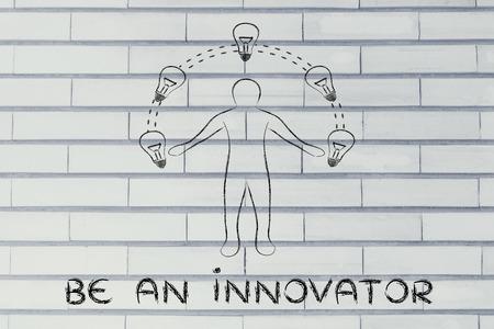 competitive advantage: be an innovator: man juggling ideas (lightbulb illustration) Stock Photo