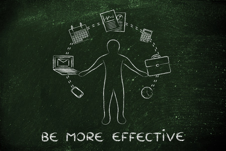 juggling: be more effective: metaphor of business man juggling with office objects Stock Photo