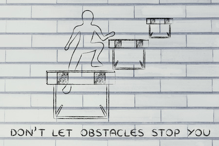 obstacles: concept of not letting obstacles stop you: person jumpying over a series of obstacles