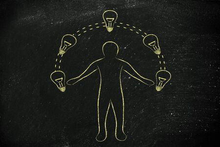 competitive advantage: concept of innovation and talent: man juggling ideas (lightbulb illustration)